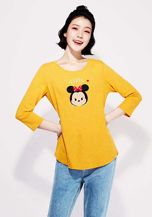 【限時$199】Tsum Tsum系列竹節棉七分袖印花T恤-03