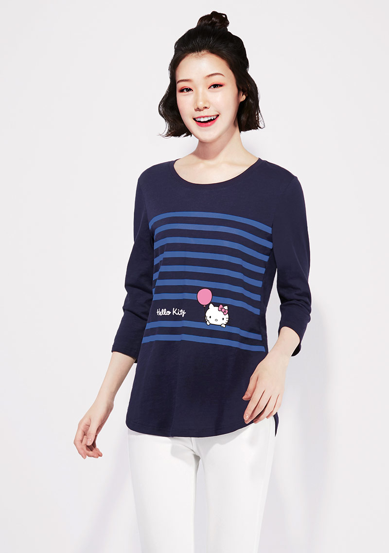 Hello Kitty 竹節棉七分袖印花T恤-01
