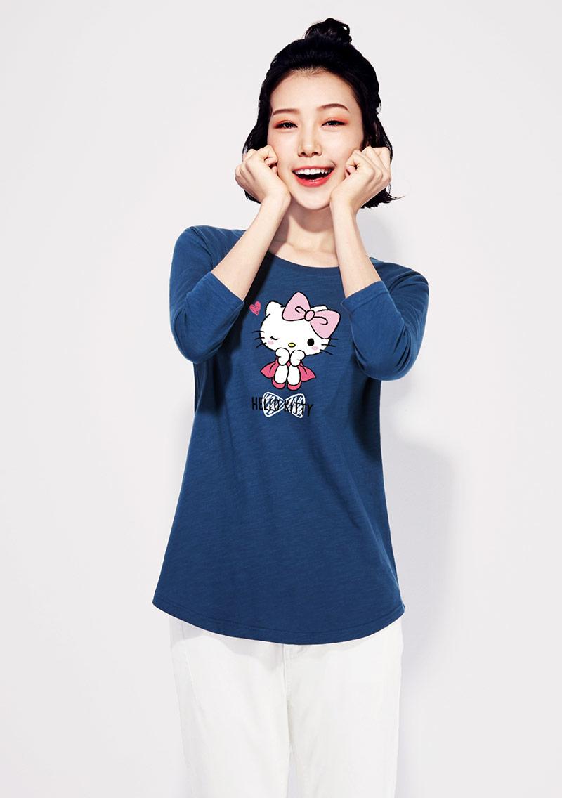 Hello Kitty 竹節棉七分袖印花T恤-02