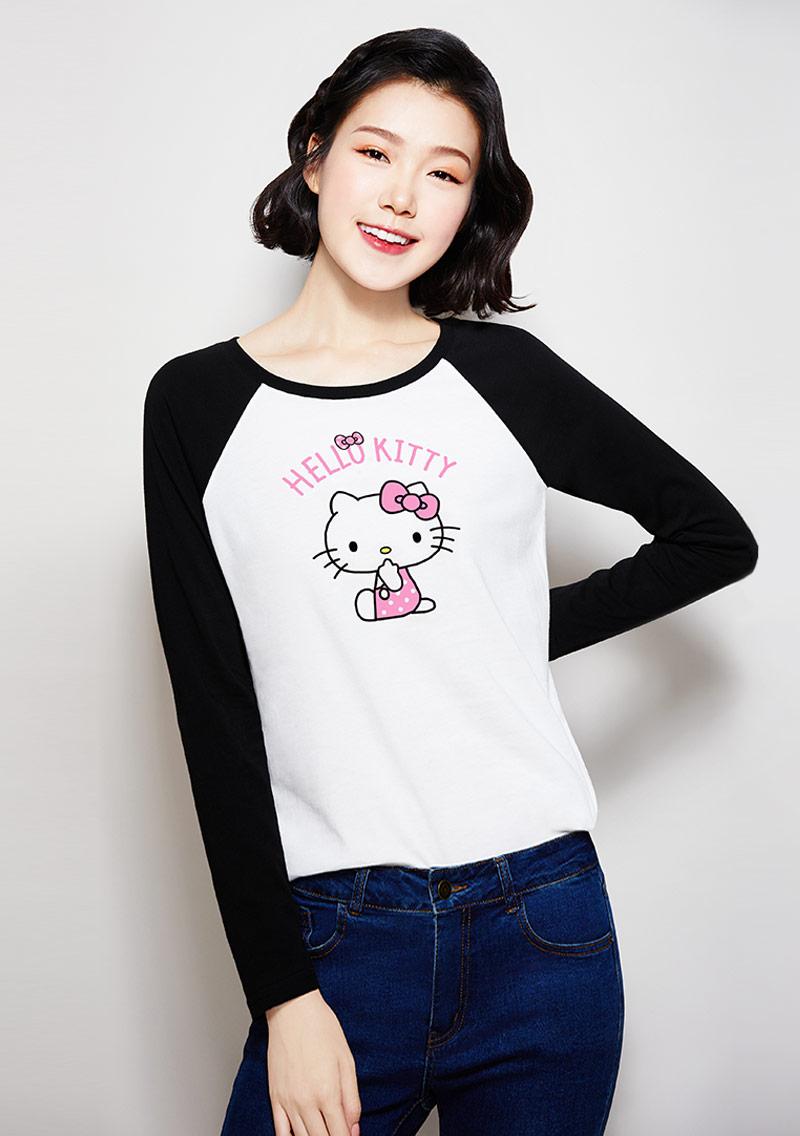 Hello Kitty 純棉配色長袖印花T恤-02