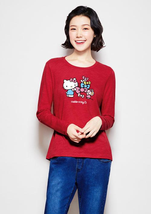 Hello Kitty 竹節棉長袖印花T恤-01