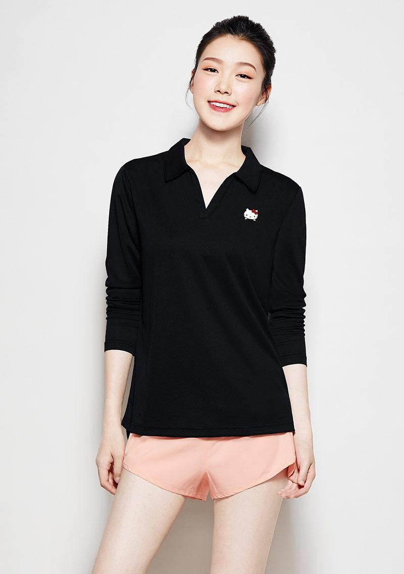 Hello Kitty 抗UV吸排長袖印花polo衫-01