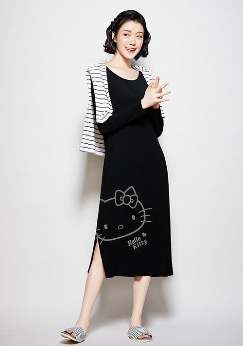 Hello Kitty 莫代爾印花家居洋裝-01