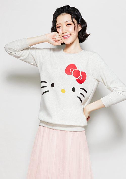 Hello Kitty 刷毛印花大學T-02