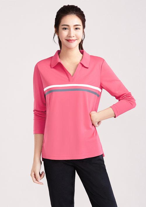 抗UV吸排條紋印花長袖polo衫