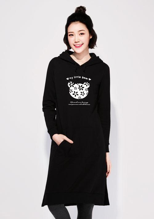 櫻花熊刷毛印花連帽長版洋裝