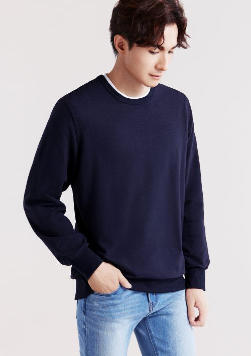 毛圈圓領衫-男