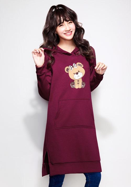 熊熊刷毛印花連帽長版洋裝