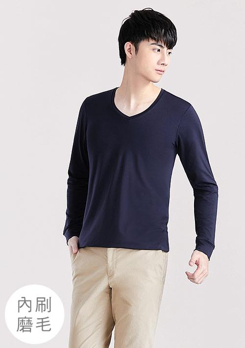 HEATPUSH內磨毛V領發熱衣-男裝
