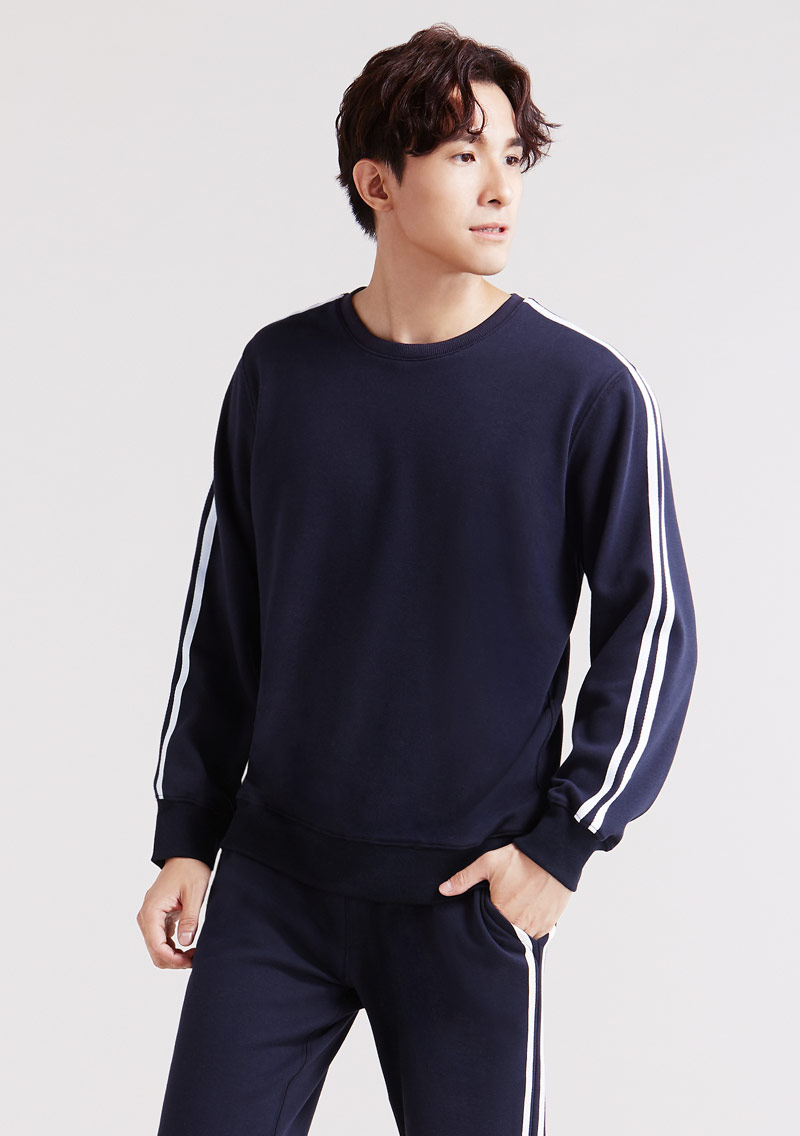 圓領刷毛條紋袖大學T-男