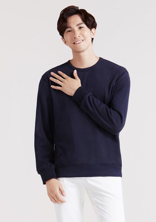 圓領刷毛大學T-男