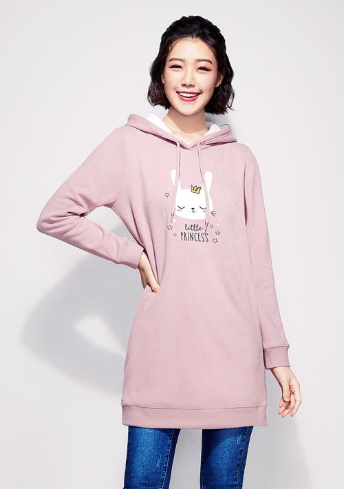 兔兔刷毛印花連帽長版T