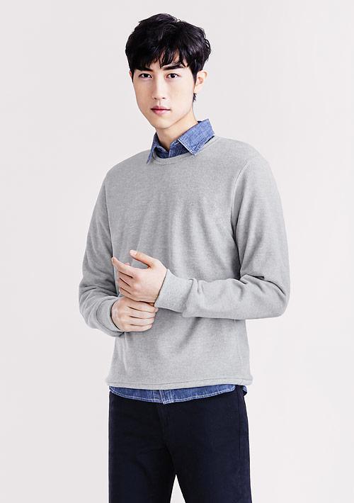 Fleece輕量保暖圓領衫-男裝