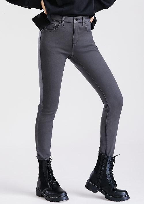 特級彈性磨毛窄管褲