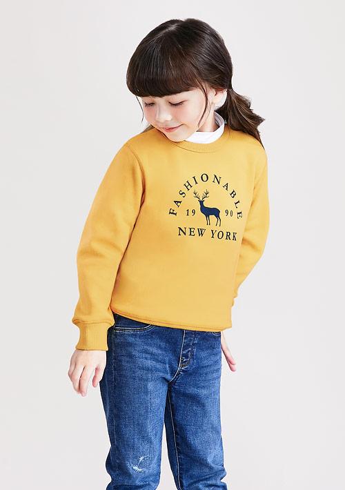 小鹿刷毛印花T恤-童
