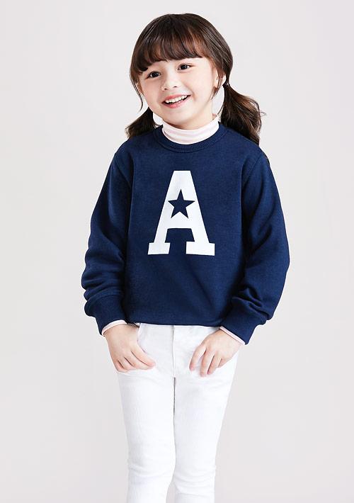 字母刷毛印花T恤-童