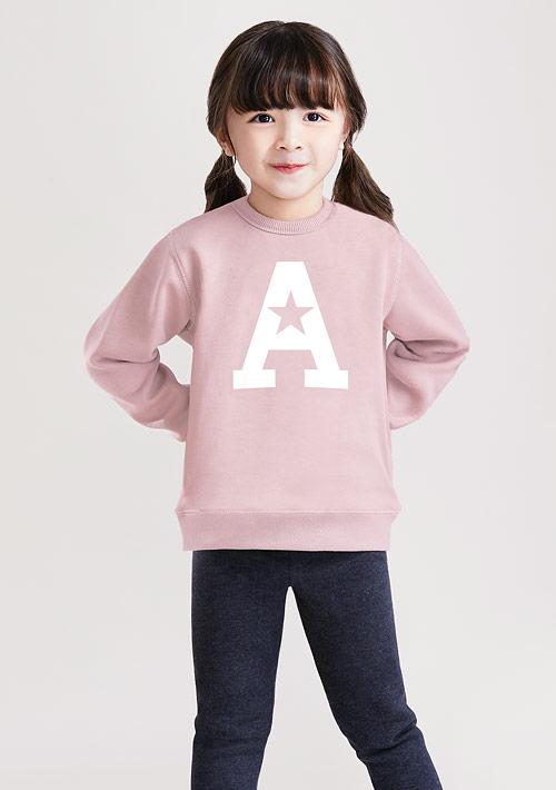 字母刷毛印花T恤-童裝