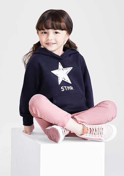 星星刷毛連帽印花T恤-童