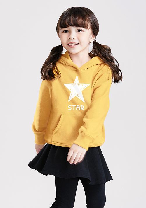 星星刷毛連帽印花T恤-童裝