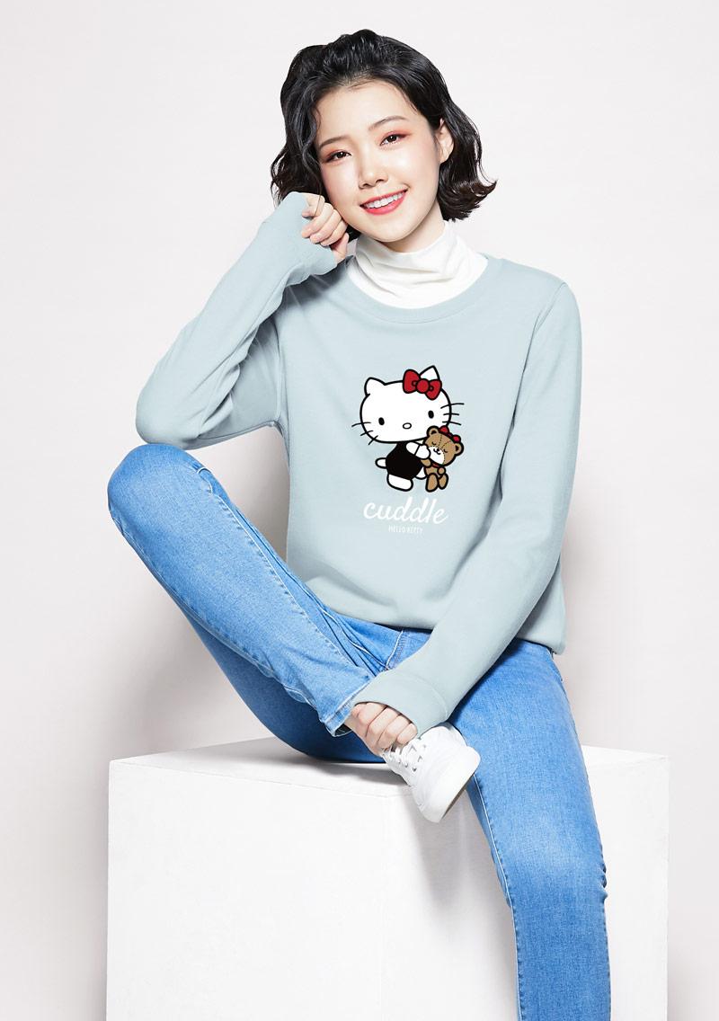 Hello Kitty 小熊刷毛印花大學T-01