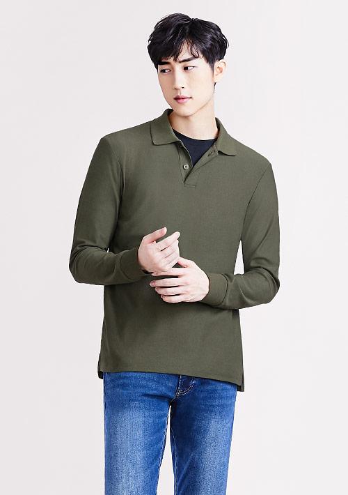 棉質網眼長袖polo衫-男裝