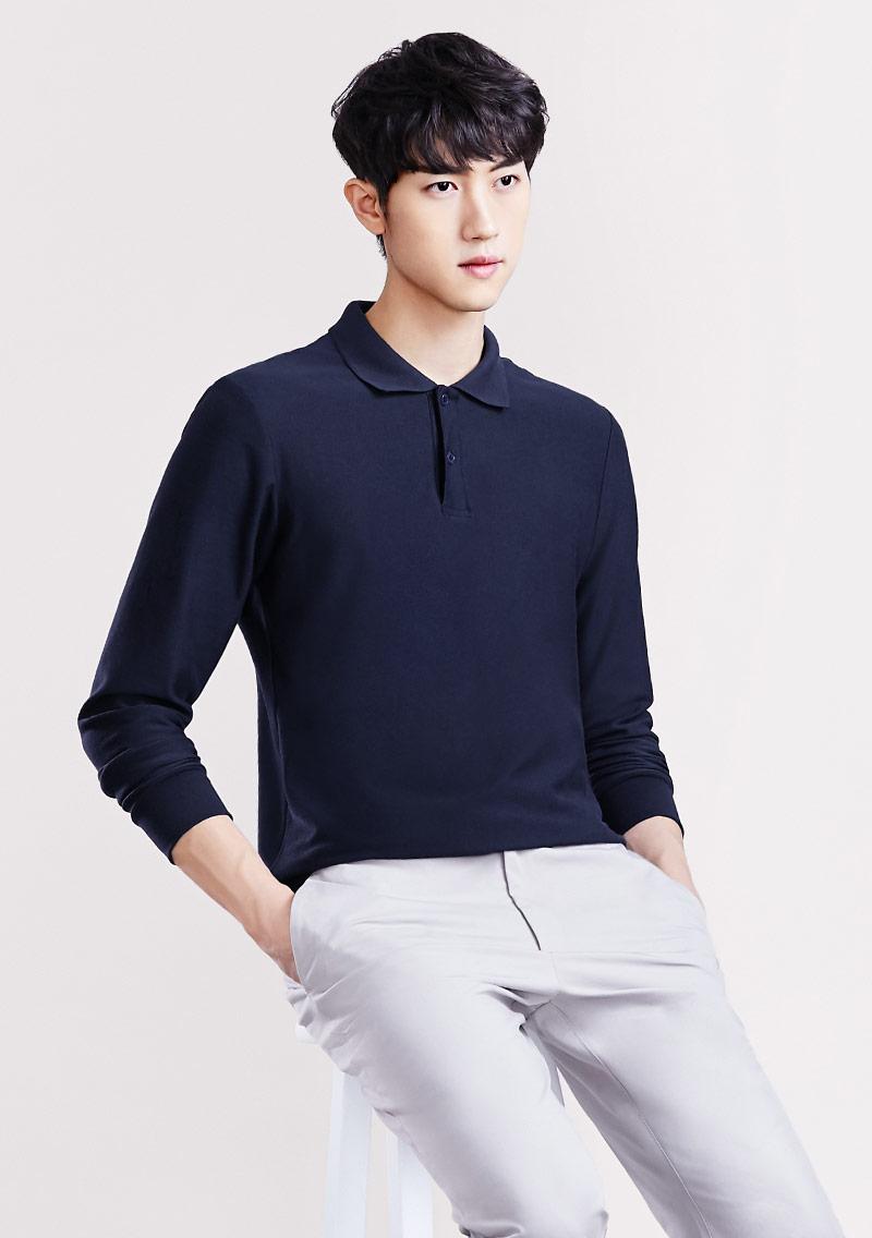 棉質網眼長袖polo衫-男