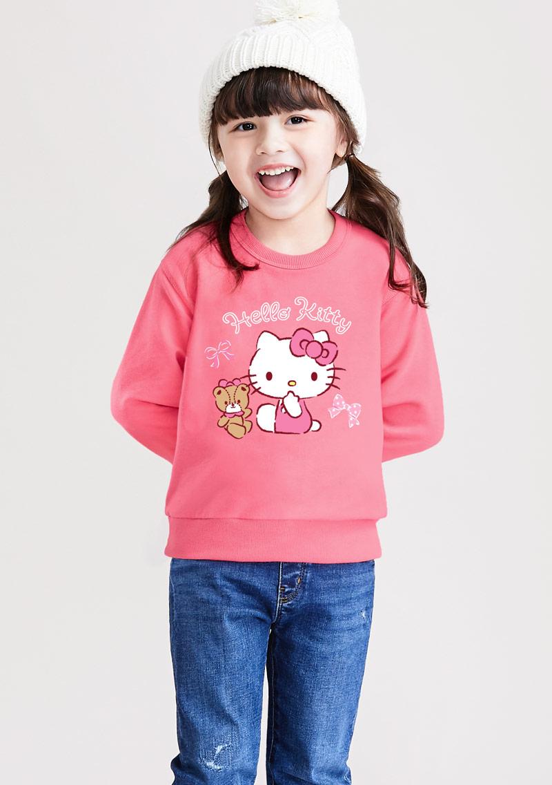Hello Kitty 小熊毛圈印花T恤-01-童