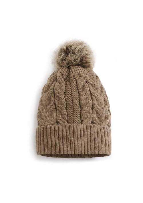 毛絨球球針織帽