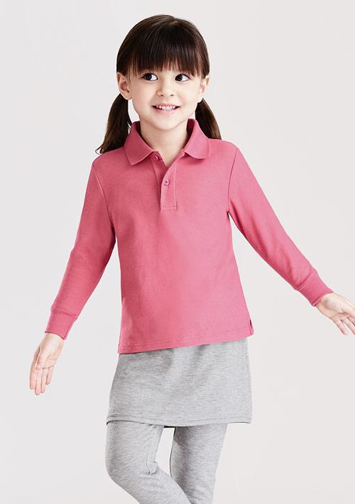 棉質網眼長袖polo衫-童裝