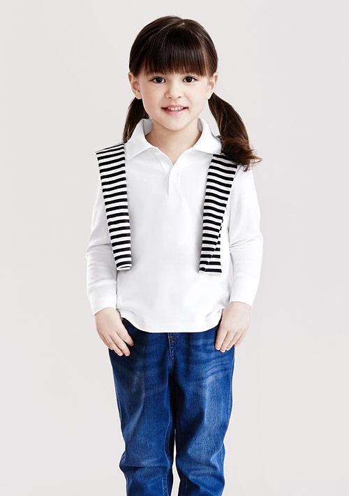 棉質網眼長袖polo衫-童