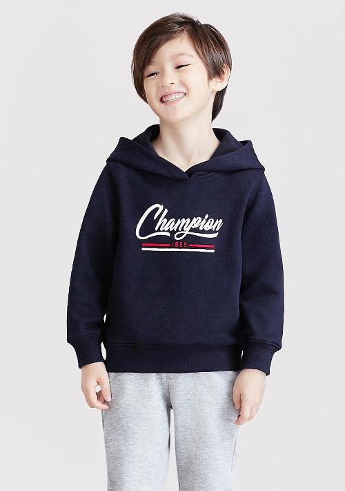 字母刷毛連帽印花T恤-童裝