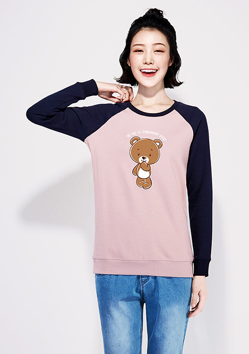 熊熊拼色刷毛印花大學T