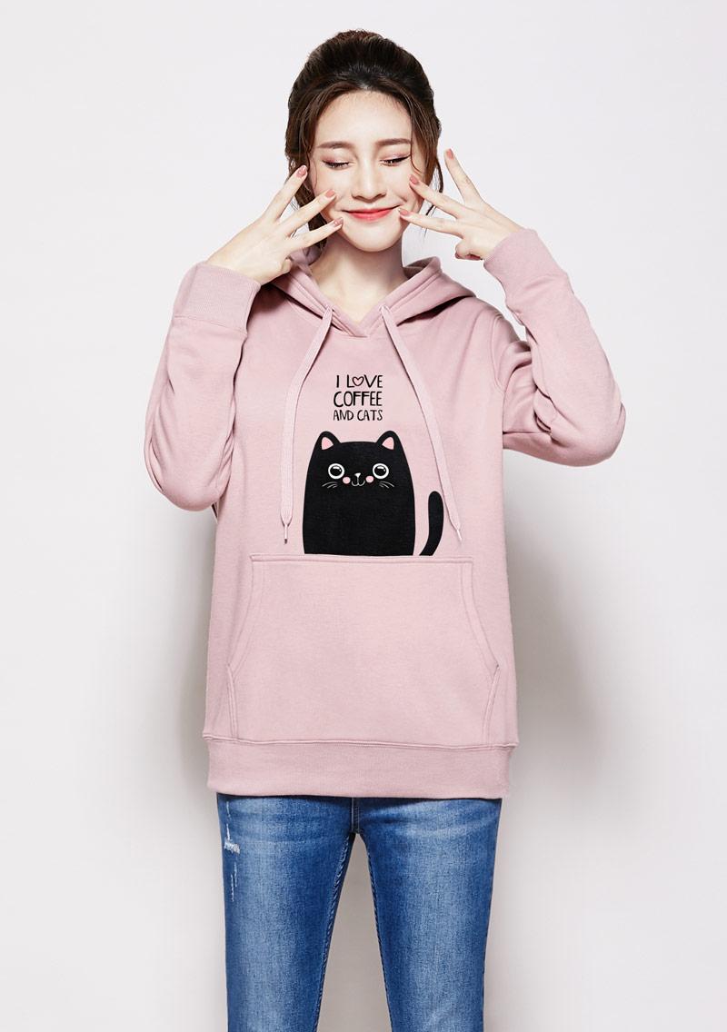 貓咪刷毛連帽印花大學T