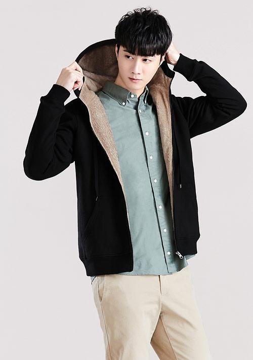 毛絨連帽外套-男裝