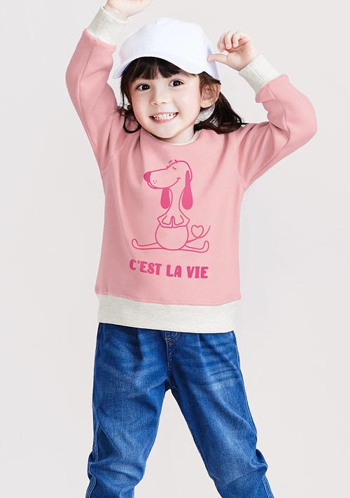 米格魯羅紋配色刷毛印花T恤-童裝