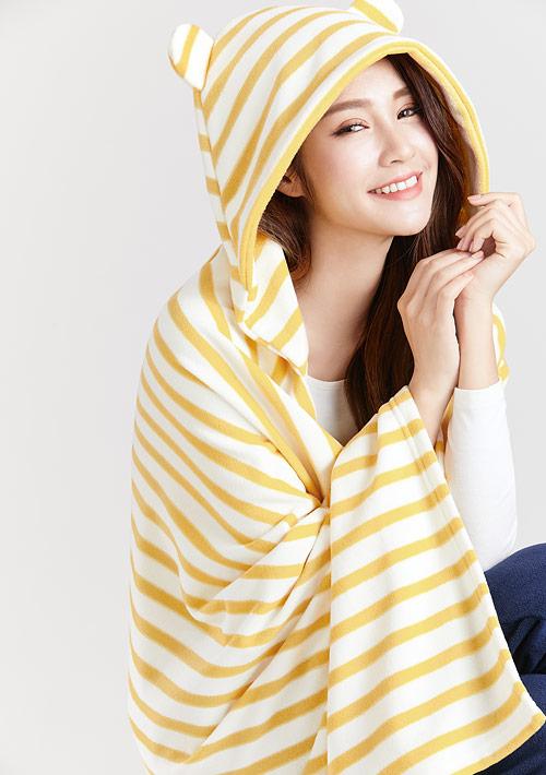 Fleece條紋連帽斗篷