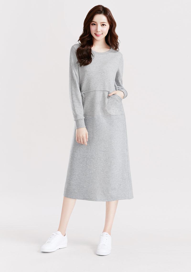 圓領刷毛長版洋裝