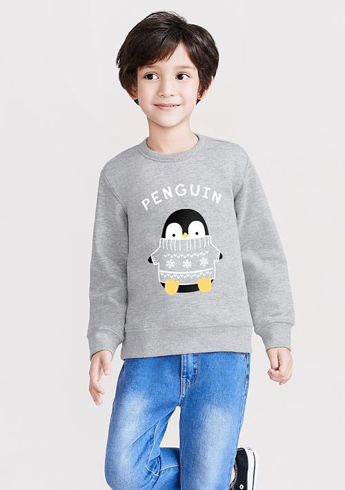 企鵝刷毛印花T恤-童裝
