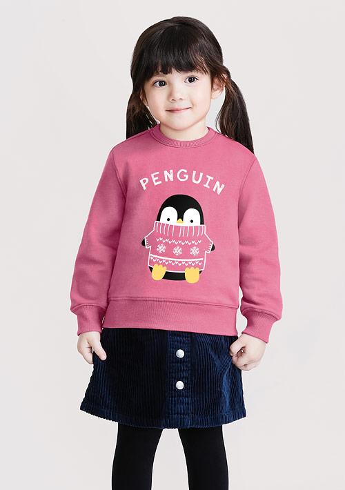 企鵝刷毛印花T恤-童