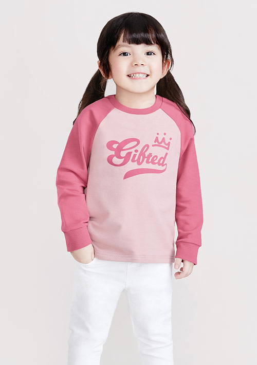字母印花毛圈配色圓領衫-童裝
