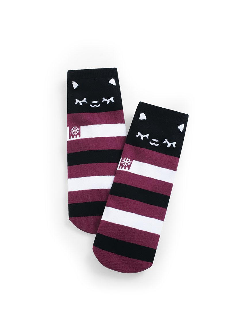 圍巾貓咪中筒襪