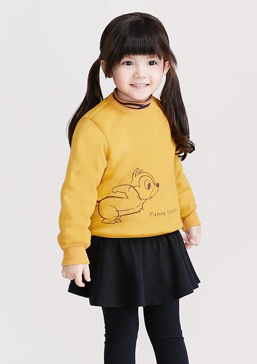 迪士尼奇奇蒂蒂系列刷毛印花T恤-01-童