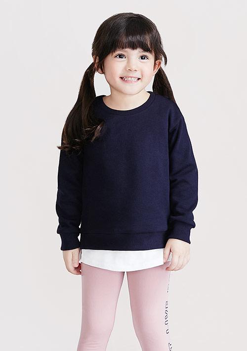 假兩件圓領刷毛上衣-童