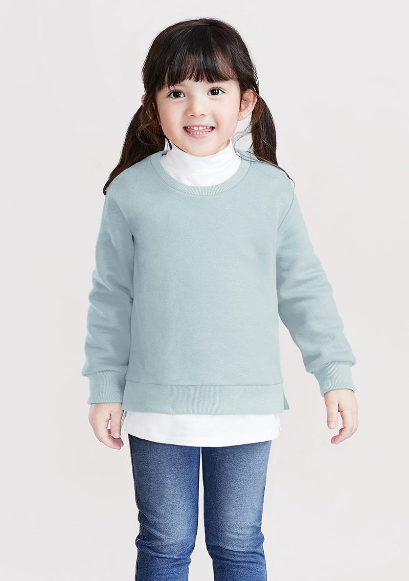 假兩件圓領刷毛上衣-童裝