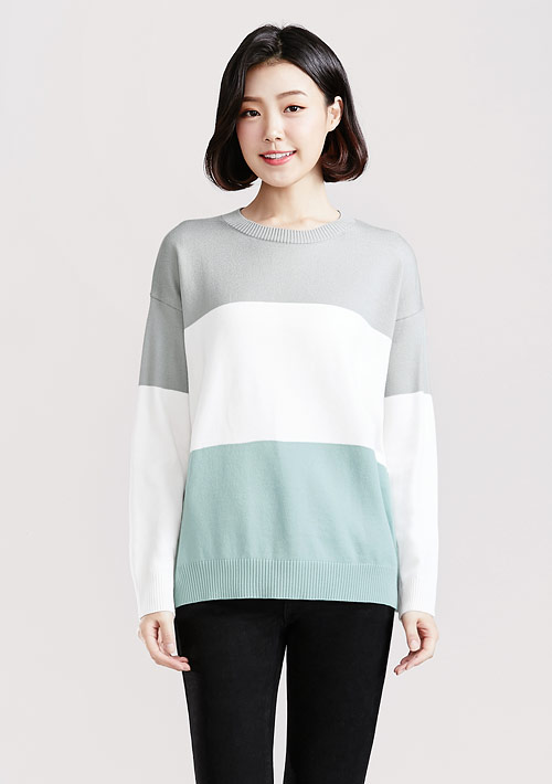 寬版配色針織毛衣