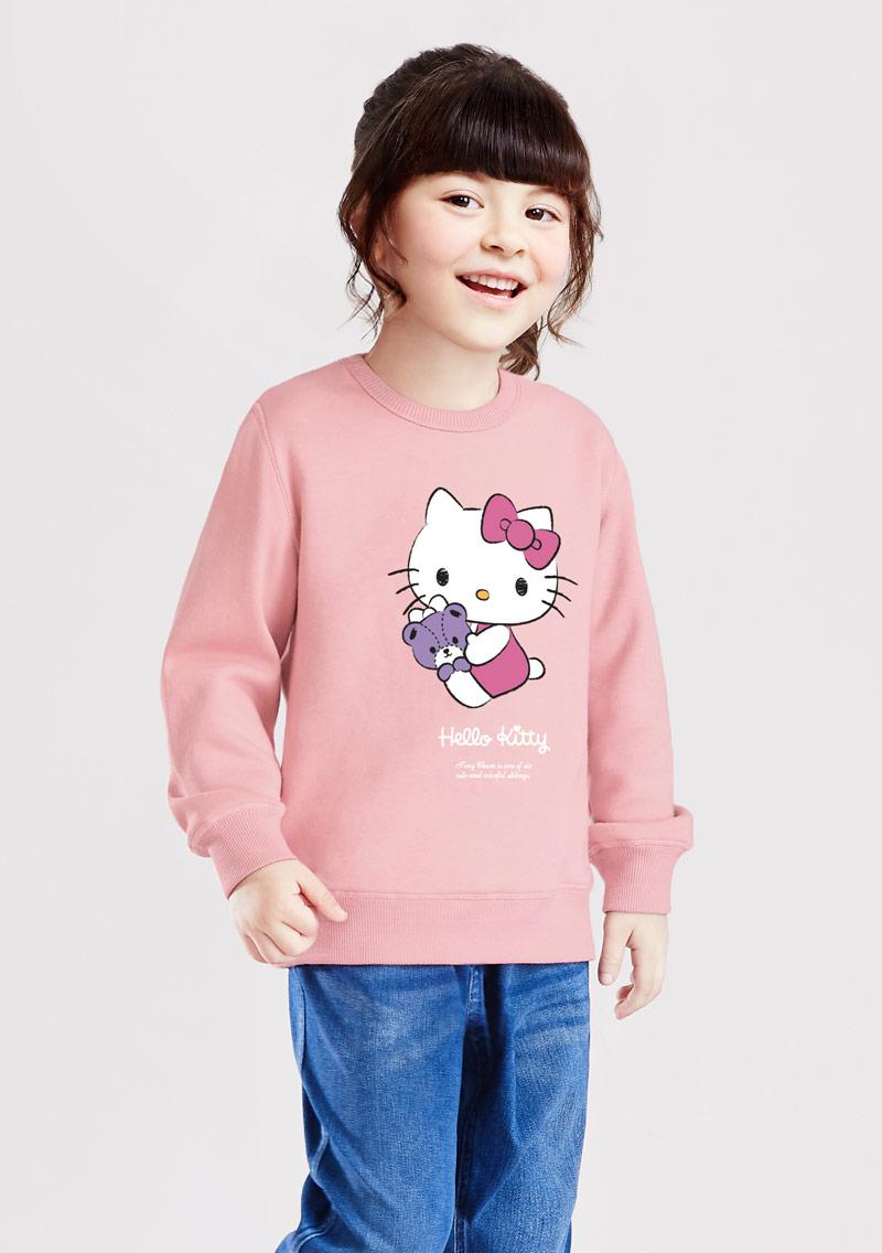 Hello Kitty 小熊刷毛印花T恤-01-童裝