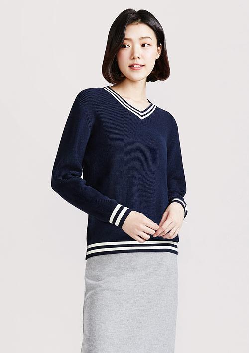 V領配色針織衫