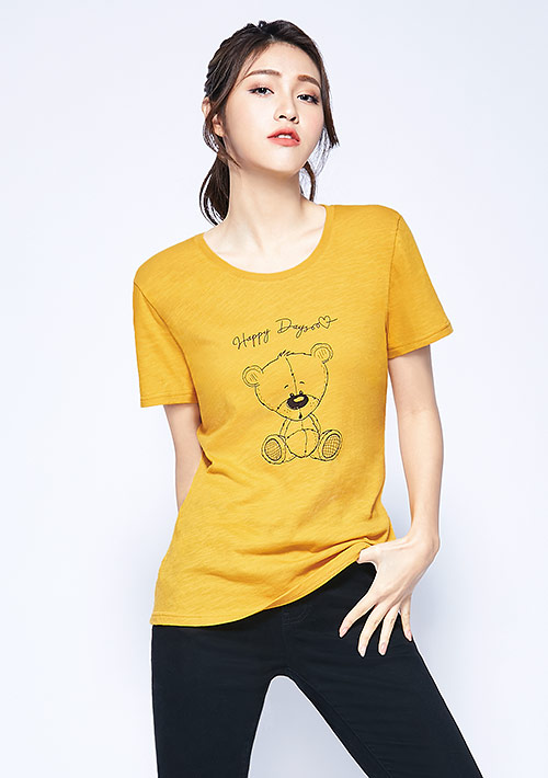 小熊竹節棉印花T恤