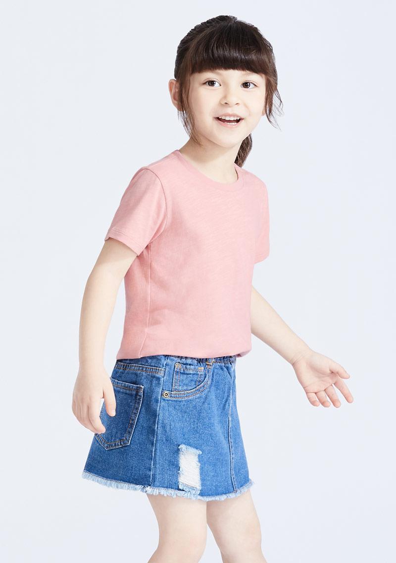 圓領竹節棉上衣-童裝