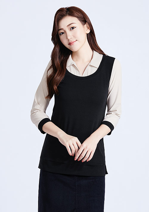 特級棉羅紋假兩件襯衫領上衣